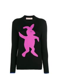 Maglione girocollo stampato nero di Marni