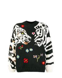 Maglione girocollo stampato nero di Sonia Rykiel