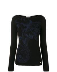 Maglione girocollo stampato nero di Versace Collection