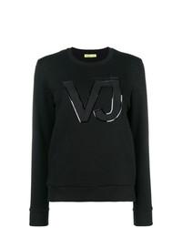 Maglione girocollo stampato nero di Versace Jeans