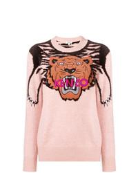 Maglione girocollo stampato rosa di Kenzo