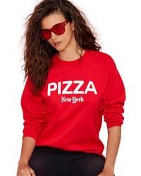 Maglione girocollo stampato rosso e bianco