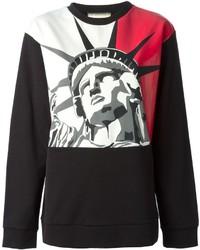 Maglione girocollo stampato rosso e nero