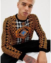 Maglione girocollo stampato terracotta di ASOS DESIGN