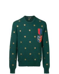 Maglione girocollo stampato verde di Dolce & Gabbana