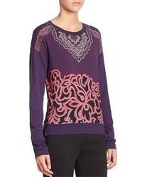 Maglione girocollo stampato viola
