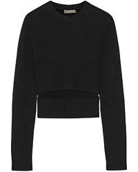 Maglione girocollo tagliato nero