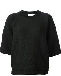 Maglione girocollo trapuntato nero di Jil Sander
