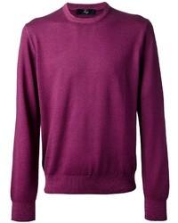 Maglione girocollo viola melanzana