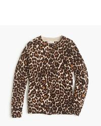 Maglione leopardato marrone chiaro