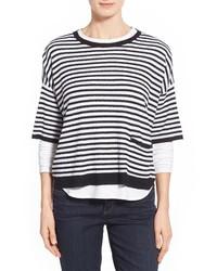 Maglione oversize a righe orizzontali bianco e nero