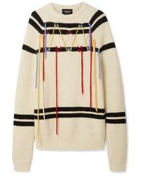 Maglione oversize a righe orizzontali bianco e nero di Calvin Klein 205W39nyc