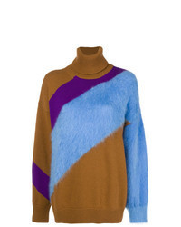 Maglione oversize a righe orizzontali multicolore