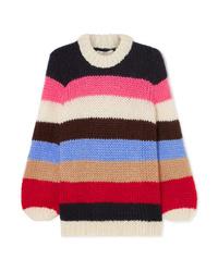 Maglione oversize a righe orizzontali multicolore di Ganni