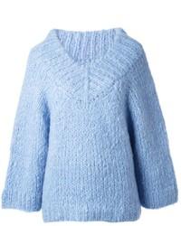 Maglione oversize lavorato a maglia azzurro di Michael Kors