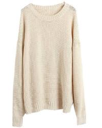 Maglione oversize lavorato a maglia beige