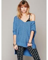 Maglione oversize lavorato a maglia blu