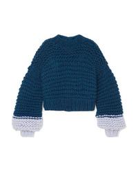 Maglione oversize lavorato a maglia blu scuro di The Knitter