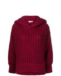 Maglione oversize lavorato a maglia bordeaux di Fendi