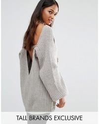 Maglione oversize lavorato a maglia grigio