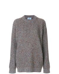 Maglione oversize lavorato a maglia grigio di Prada