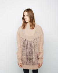 Maglione oversize lavorato a maglia marrone chiaro