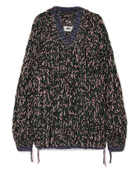 Maglione oversize lavorato a maglia nero di MM6 MAISON MARGIELA