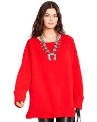 Maglione oversize lavorato a maglia rosso