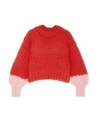 Maglione oversize lavorato a maglia rosso di The Knitter
