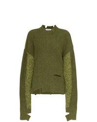 Maglione oversize lavorato a maglia verde oliva
