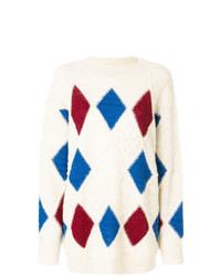 Maglione oversize stampato beige di Isabel Marant Etoile