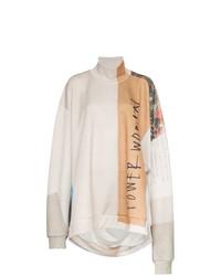 Maglione oversize stampato beige di MARQUES ALMEIDA