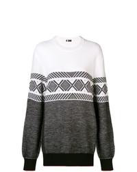 Maglione oversize stampato bianco e nero di Z Zegna