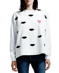 Maglione oversize stampato bianco