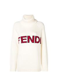 Maglione oversize stampato bianco di Fendi