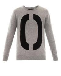 Maglione oversize stampato grigio