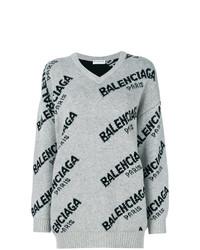 Maglione oversize stampato grigio di Balenciaga