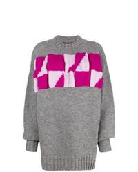 Maglione oversize stampato grigio di Calvin Klein 205W39nyc