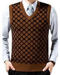 lowest price 582a9 9d334 Maglioni senza maniche marroni da uomo | Moda uomo | Lookastic