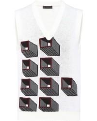 Maglione senza maniche stampato bianco di Prada
