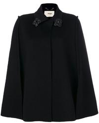Mantello decorato nero di Fendi