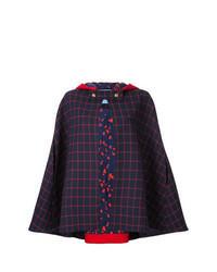 Mantello scozzese rosso e blu scuro