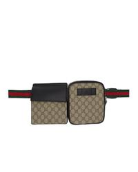 Marsupio di tela stampato marrone di Gucci