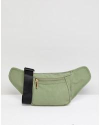 Marsupio in pelle scamosciata verde oliva di Yoki Fashion