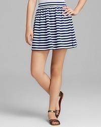 Minigonna a righe orizzontali bianca e blu