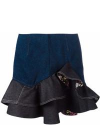 Minigonna di jeans blu scuro di Alexander McQueen