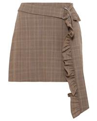Minigonna di lana a quadri marrone