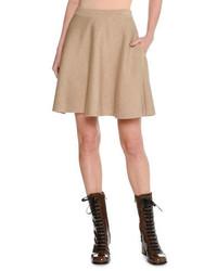 Minigonna di lana marrone chiaro