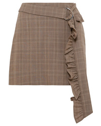 Minigonna di lana marrone
