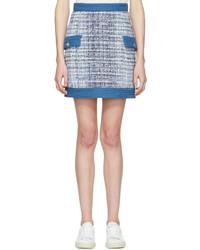 Minigonna di tweed azzurra